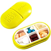 Reise Pill Box Vitamine Medizin Tablet Veranstalter Fall 6 Fächer Lagerung für Reise Reise Reise (gelb) preisvergleich bei billige-tabletten.eu