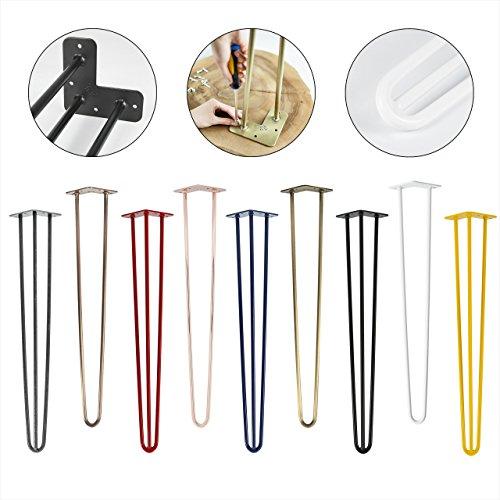 4x Natural Goods Berlin Hairpin Leg Tischbeine |12mm Stahl | viele Farben | alle Größen | 30cm/2Stangen (Schwarz)