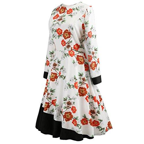 Homebaby Vintage Elegante Dress Donna Maniche Lunghe - Floreale Vestiti Donna Eleganti Da Cerimonia - Sottile Sera Abito Lungo Vestito Completo Vestiti Abito Estivo Casual Bianco