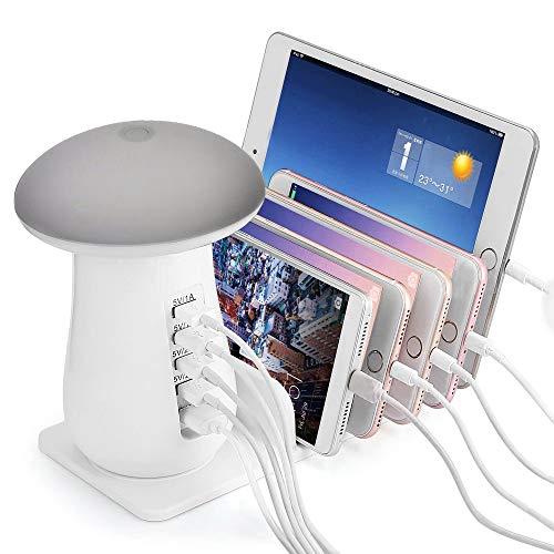 ONLT Schreibtischlampe,Touchbedienung LED Büro Tischleuchte,Ladestation,Einstellbare Helligkeit,LED-Nachtlicht,Smart Ladestation Dock & Organizer für Smartphones,5 USB-Anschlüsse