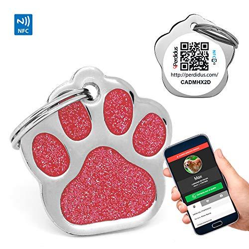 PERDIDUS Placa Identificativa para Perros Shine QR con NFC y GPS, (Rojo)