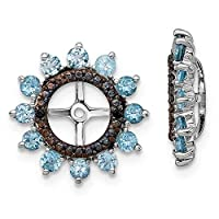 925 Sterling Silver Rhodium plated Swiss Blue Topaz and Black Sapphire Earrings Jacket Jewelry Gifts for Women