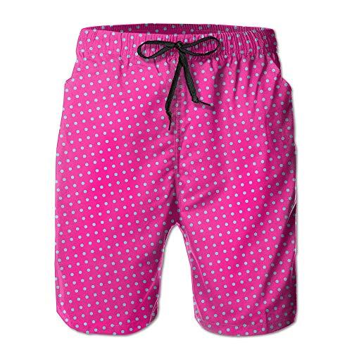 Naiyin Sports Beach Shorts Swim Trunks Blue Spots Pink Dots Quick Dry Men's Shorts Hot Swimming Trousers Board Shorts with Pockets (XL) Hot Pink Checker