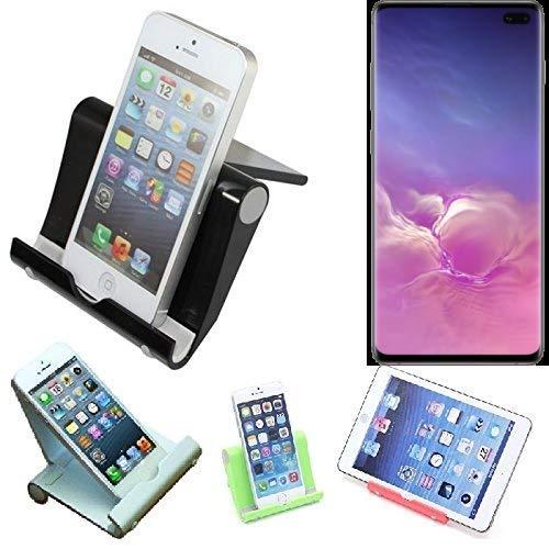 K-S-Trade per Samsung Galaxy S10+ (DUOS) Supporto da Tavolo Dock Nero, Forte, Leggero e Compatto Multi-Angolo Basamento Smartphone Fold-up Stazione per Samsung Galaxy S10+ (DUOS)