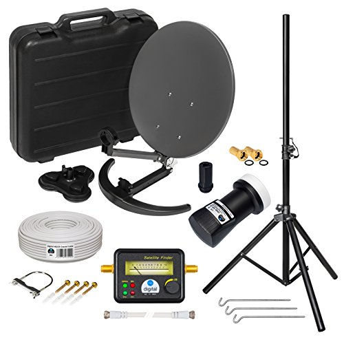 HD Camping Sat Anlage im Koffer ➕ Stativ von HB-DIGITAL: 📡 Mini Sat Schüssel 40cm Anthrazit ➕ Stativ ➕ UHD Single LNB 0,1 dB ➕ SF777 SATFINDER ➕ 10m SAT-Kabel inkl. F-Stecker 💢 4K UHD Full HD 1080p fähig 💢