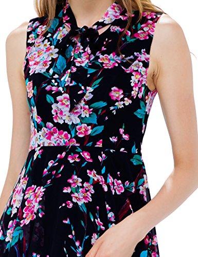 Alisapan Einfach Damen Ärmellos Blumenprint Casual Sommerkleider 05501 Schwarz
