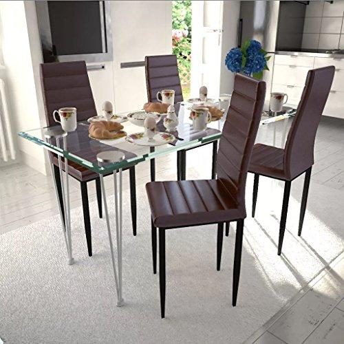 FZYHFA 4Stück Stühle braun den feine Linien mit eine Glastisch