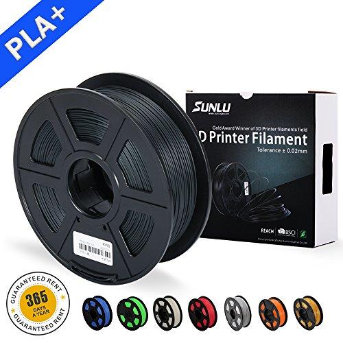 SUNLU 3D Drucker Filament schwarz PLA Plus, 1,75 mm PLA + Filament, 3D-Druck Filament niedrigen Geruch, Dimensionsgenauigkeit +/- 0,02 mm, 2,2 LBS (1 kg) Spool 3D-Filament für 3D-Drucker & 3D-Stifte, grau schwarz
