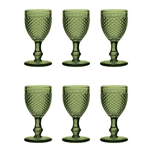 EME Mobiliario Copa Cristal Tallado Picos Color Verde