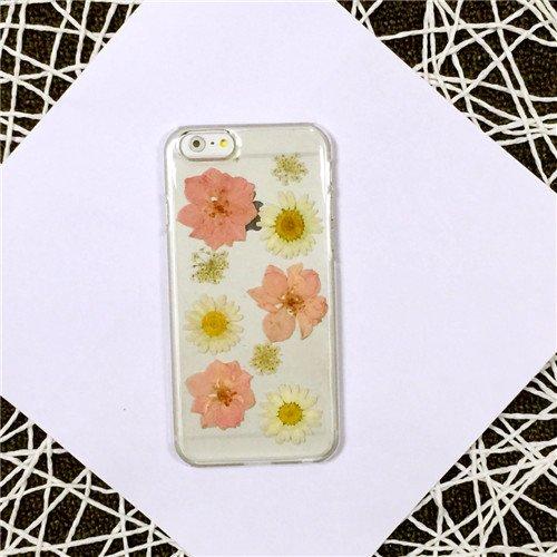 Coque iPhone 5/5s , iNenk® main personnalisée vraies fleurs séchées fleurs jamais éternelle fleur téléphone Case PC Hard créatif bricolage Transparent-motif 2 Modèle 3