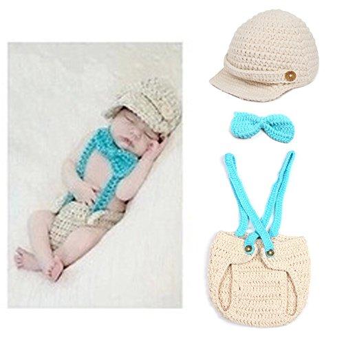 Sunfire 3Stück Crochet Knit Kostüm Foto Fotografie Prop Outfits Lätzchen Schleife Hat