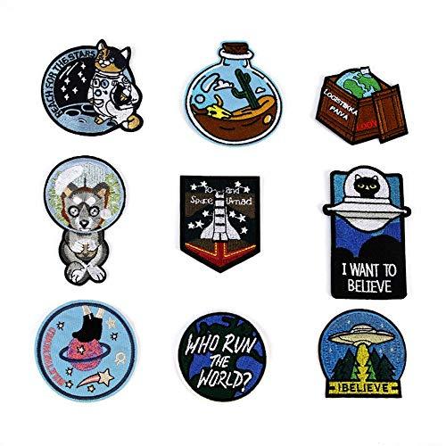 Obctk Freies Verschiffen gelegentlicher 5 Stücke Raumkatzenhundheißer Aufkleber-nähender Stickerei-Applikationsflecken, - Benutzerdefinierte Pailletten Kostüm