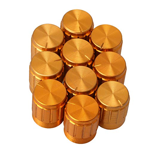 Yibuy Golden Lautstärkeregler Drehpotentiometer Drehknöpfe mit Aluminium Gehäuse Control Buttons Ersatzgitarre Teile Pack von 10 -