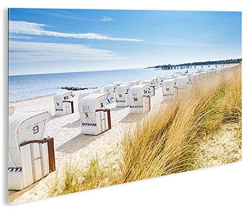 islandburner Bild Bilder auf Leinwand Strandkorb Strand Meer 1p Urlaubsfeeling XXL Poster Leinwandbild Wandbild Dekoartikel Wohnzimmer Marke