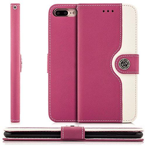 Saxonia Tasche + Panzerglas Apple iPhone 7 Plus / 8 Plus Hülle Flip Case Schutzhülle Handytasche mit Kartenfach Standfunktion Braun-Weiß Pink-Weiß