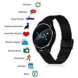 TKSTAR Touchscreen Smart Watch, Bluetooth 4.0 Sport Fitness Tracker, 0,96OLED Smart Uhr, Neue Mode Smart Armband mit Schlaf Monitor Blutdruck Herzfrequenzmesser Schrittzähler Kalorienschritt Zähler SMS Alarm JUM7 (Schwarz, Stahlband)