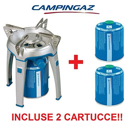 ALTIGASI Gaskocher Bivouac mit Füßen Leistung 2600 Watt - Marke CAMPINGAZ + 2 Kartuschen A Gas CV 470 mit abnehmbarem System - Produkt ideal für Camping