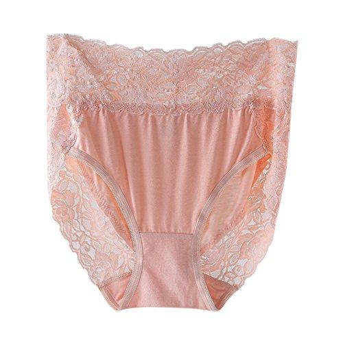LAEMILIA Damen Unterhosen Große Größen Taillenslip Hoher Bund Spitze Unterwäsche Spitze Slip 4er Pack 4 Farben Gr.38 bis Gr.52 - 9