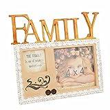 Giftgarden 10x10 Kunstharz Bilderrahmen mit Family Buchstabe Muttertag Vatertag Geschenk