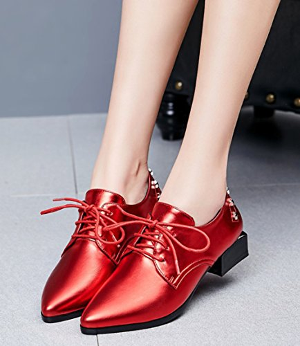 Aisun Damen Klassisch Stern Lackleder Spitze Zehen Schnürhalbschuhe Rot