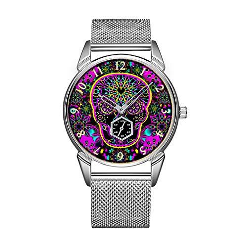 minimalistischen Persönlichkeit Muster Uhr -838. Zucker Schädel neon pink ()