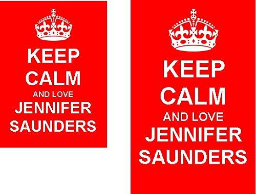 Keep Calm And Love Jennifer Saunders 2 Sided Keyring and Fridge Magnet Set