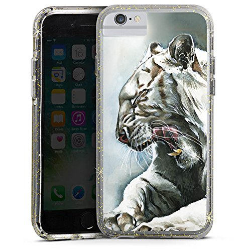 Apple iPhone 6 Bumper Hülle Bumper Case Glitzer Hülle White Tiger Zeichnung Bumper Case Glitzer gold