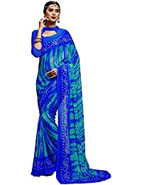 Ligalz Chiffon Saree With Blouse Piece (AMD033875_Blue_Free Size)