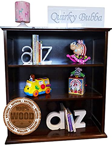 Quirky Bubba Solid Wood Bookshelf + Childrens Kids Book Shelf + Easily Assembled (Walnut)
