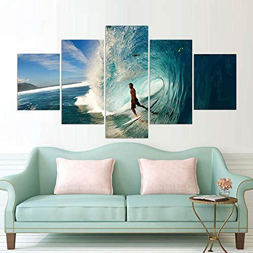 Marcos cuadros 5 pedazos surf moderno paisaje lienzo