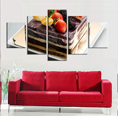 (Wiwhy Kunstwerk Poster Hd Prints Home Decoration 5 Stücke Kuchen Dessert Wandkunst Rahmen Modular Food Bilder Restaurant Leinwand Malerei-20X35/45/55Cm)