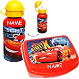 alles-meine GmbH 2 tlg. Set _ Lunchbox / Brotdose & Trinkflasche -  Disney Cars / Lightning Mc..