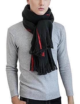 Aivtalk - Bufanda Chal con Fleco para Mujer Hombre Casual Foulard Invierno - Negro - 60x200cm