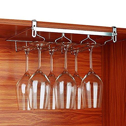 Sheny Wandhängeregal für Gläser Weingläser Rack, Halterung für Stielgläser 3 Reihen Stemware Halter (Silber 3 Reihen)