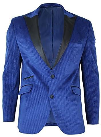 Mens Slim Fit 1 Button Velvet Blazer Tuxedo Dinner Jacket Royal Blue Black