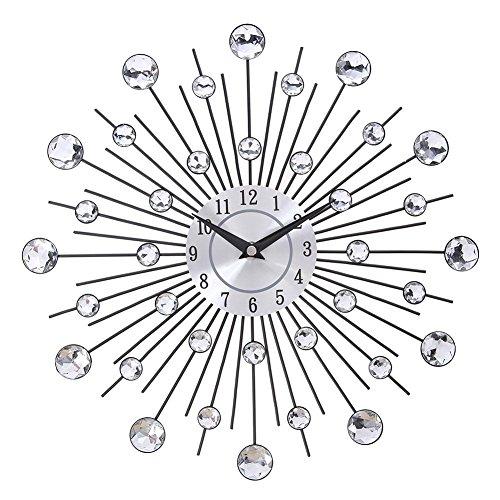 Demiawaking orologio da parete in metallo argento cristalli orologio da parete decoro grande
