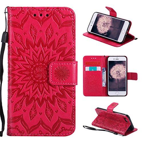 Hülle iPhone 8 Leder, Asnlove Premium Handy Schutzhülle Tasche Leder Wallet Tasche Flip Brieftasche Etui Schale Mit Kartenfach Magnetverschluss Standfunktion Slim-Schutzhülle für Apple iPhone 7 / 8 4,7 Zoll Design Mandala (Book-tasche-geldbörse)