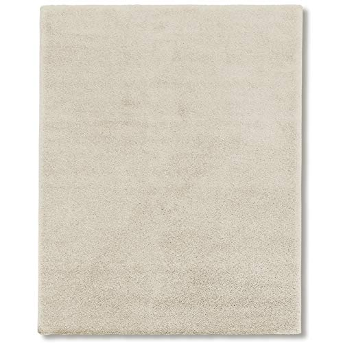Tappeto shaggy moderno - pelo lungo, fitto, piatto, morbido   per interni, salotto, soggiorno, sala, camera   anti-scivolo in vari colori e misure - 160x230 cm - avorio