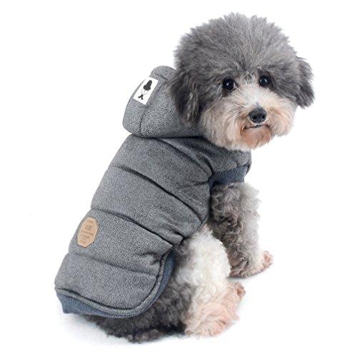 Ranphy Winterjacken Wintermäntel mit Kapuze für Kleine Hunde, Hundejacke mit Fleece Einlage Hundemantel aus Baumwolle Haustier Kleider Winddicht Jacke Bekleidung Kapuzenjacke für Katze