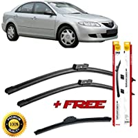 Set of 3 flat blade wiper blades for MA Z DA 6 2002-2008 rear