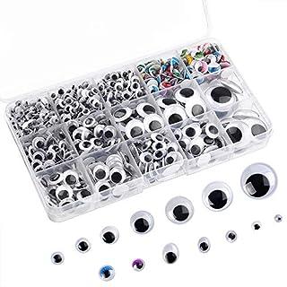 FEPITO 1150 Stück Wackelaugen Selbstklebend Wiggle Augen Kulleraugen Selbstklebend für DIY-Handwerk Projekte Verschiedene Größen