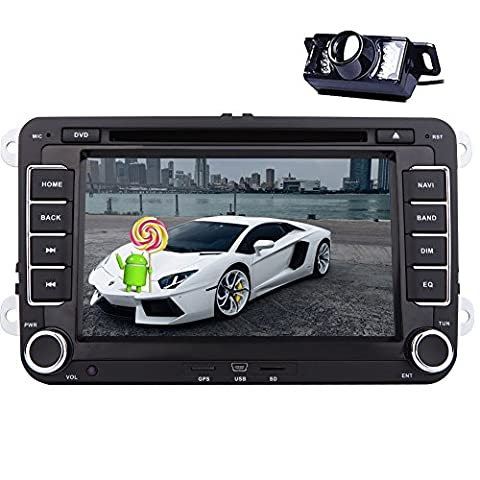 7'' 2din In Dash Car Stereo for VW Volkswagen Golf Passat Polo Jetta Tiguan EOS Touran Scirocco Skoda Seat Android 5.1 Lollipop Quad-core Car DVD Player Multimedia System 3D GPS Navigation USB SD FM AM RDS Radio Receiver Bluetooth Canbus Reverse Camera