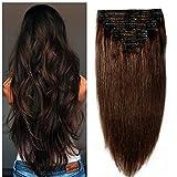 Clip in extensions echthaar Doppelt Tressen 100% Remy Echthaar 8 teiliges set Haarverlängerung dick (40cm-130g,#2 Dunkelbraun)