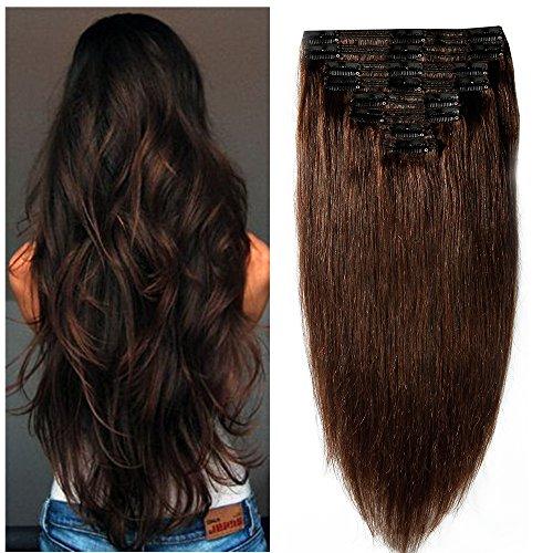 Extension capelli veri clip double weft 8 fasce remy human hair xxl full head set lisci lunga 40cm pesa 130g, #2 marrone scuro