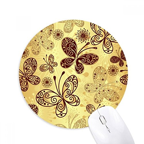 DIYthinker Round papillon jaune Fond d'écran anti-dérapant en caoutchouc Tapis de souris Jeu de bureau tapis de souris cadeau