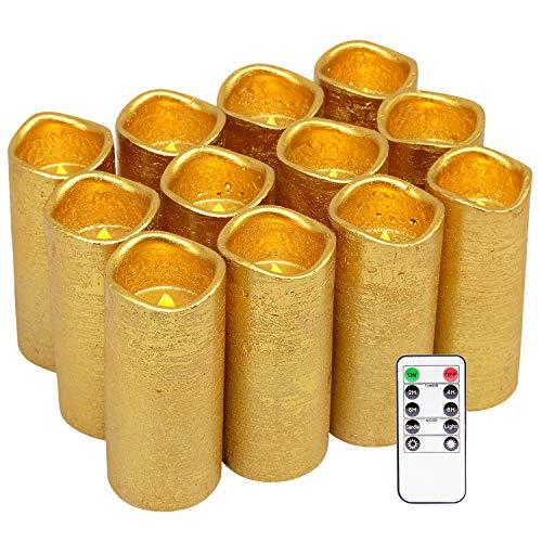 Eldnacele flammenlose Kerzen flackernde echte Wachs-Batterie betrieben LED-Säule mit Fernbedienung und Timer-Kerzen Goldüberzogener Satz von 12 (D2.2