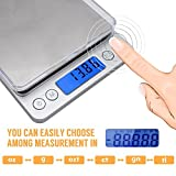 AUTOUTLET 0.01-500g Mini Digital Pocket Scale Weight Counting Scale Digital LCD Backlight Stainless Steel Electronic Balance Scale g/ct/dwt/ozt/oz/gn for Kitchen Food Jewelry