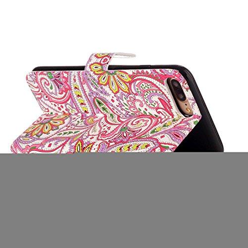 PU Cuir Case iPhone 7 Plus Mandala Fleurs Rétro Style Coque, Sunroyal Premium Embossed PU Leather Soft TPU Inner Housse Absorption de Choc et Anti-Scratch Téléphone Coque de Protection + 1 x Bling ant Chilli Fleurs