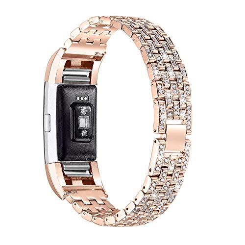 Javpoo Accessori bande compatibili Fitbit charge 2, Bling Crystal strass acciaio inossidabile Cinturino Bracciale sostituzione braccialetti compatibili Fitbit charge 2 SmartWatch