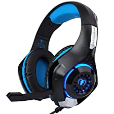 Casques audio - Bleu Casque d'écoute PS4, Xbox One, PC Téléphones Mobiles Eblouissement LED 3,5mm stéréo le port d'écouteurs, Surround Sound Gaming Headset jeu casque stéréo bandeau